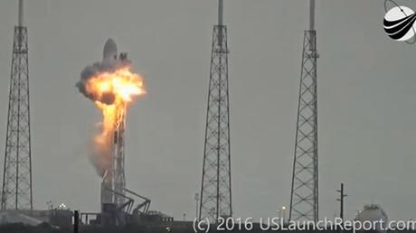 Una imagen fija de la explosión en el sitio de lanzamiento del cohete Falcon 9 de SpaceX, grabada del video en Cabo Cañaveral, Florida, EE.UU., el 1 de septiembre, 2016
