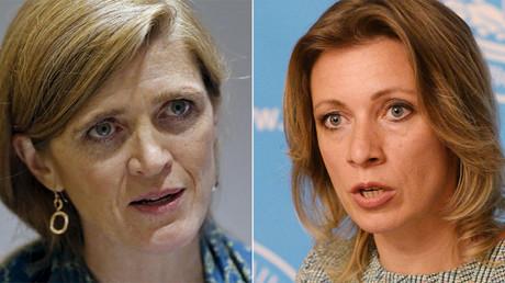La enviada estadounidense ante Naciones Unidas, Samantha Power (izquierda) y la portavoz del Ministerio de Asuntos Exteriores ruso, Maria Zajárova (derecha)