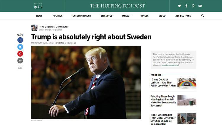 """'The Huffington Post' retira un artículo en el que se admitía que Trump """"tiene razón sobre Suecia"""""""
