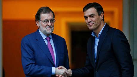 El presidente de España, Mariano Rajoy, se reúne con el líder del PSOE, Pedro Sánchez, en el Palacio de la Moncloa tras las elecciones del junio de 2016