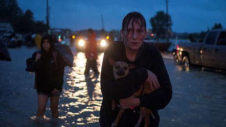 Una mujer, con su perro en brazos, tras ser evacuada de su casa