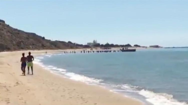 VIDEO: Decenas de inmigrantes desembarcan en una playa de Italia a plena luz del día