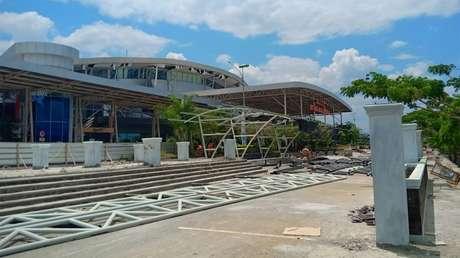 El aeropuerto Mutiara Sis Al Jufri destruid por el sismo, Palu, Indonesia, el 29 de septiembre de 2018