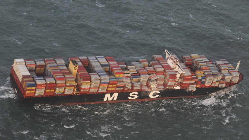 Emiten alerta luego que un barco perdiera contenedores con sustancias químicas en el mar del Norte