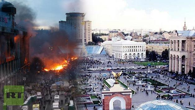 La plaza Maidán: imágenes irreales del 'antes' y el 'después' de las protestas