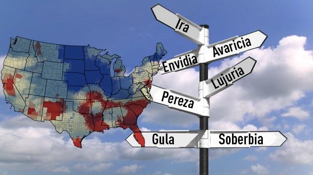 Mapas: La distribución de los siete pecados capitales en EE.UU.