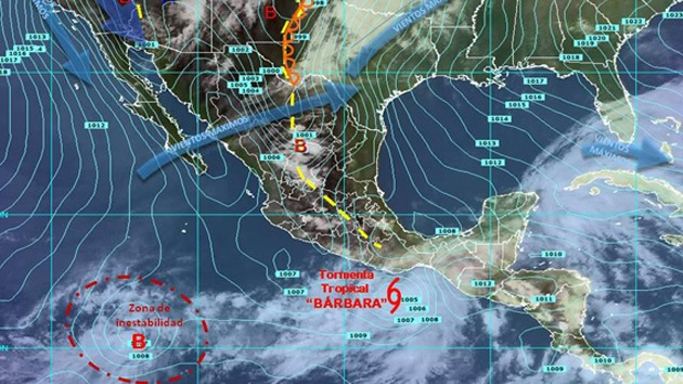 La tormenta tropical Bárbara, a punto de azotar México