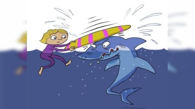 Una tabla de surf, la mejor arma contra un tiburón