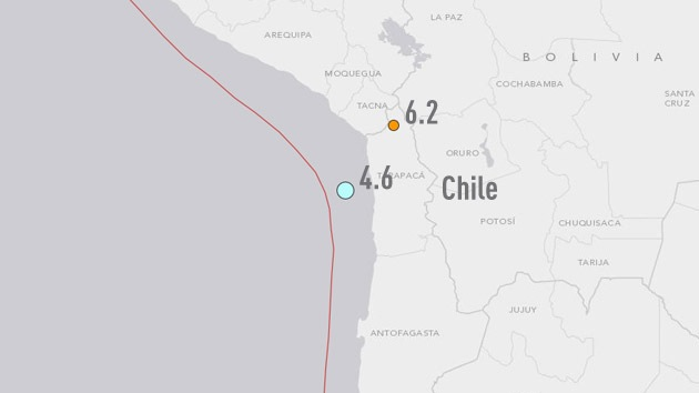 Se registra un sismo de magnitud 6,2 en Chile