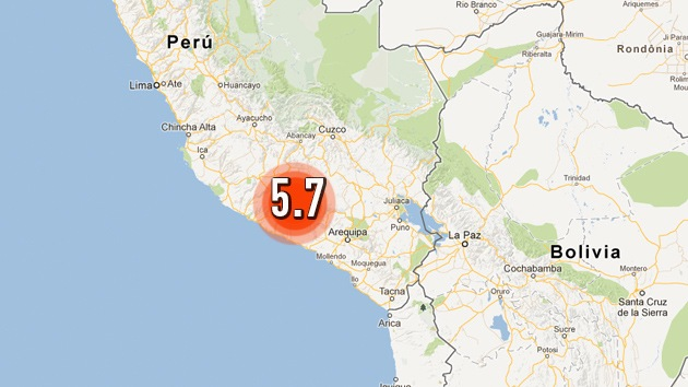 Un terremoto de magnitud 5,7 sacude el sur de Perú