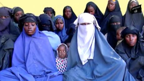 Bild aus Boko Haram-Video, gekidnappte Mädchen, Nigeria, 15. Januar 2018.
