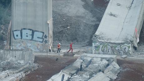 Symbolbild: Die alte Lahntalbrücke in der Nähe von Limburg nach einer kontrollierten Sprengung, 27. August 2017