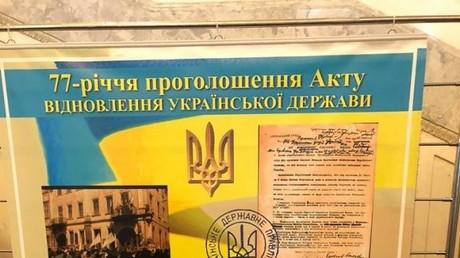 Bild aus dem ukrainischen Parlament in Kiew zum 77. Jahrestag der