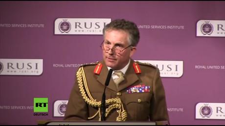 Der Generalstabschef der britischen Armee, General Sir Nicholas Carter, während seiner Rede am 22. Januar 2018 beim Royal United Services Institute (RUSI).