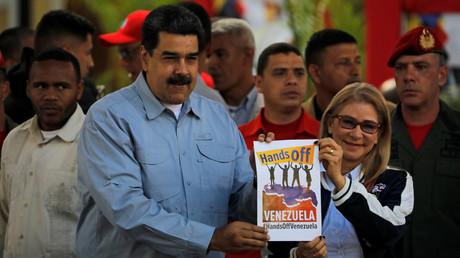Präsident Maduro bei einer Versammlung zur Unterstützung seiner Regierung in Caracas, Venezuela, 7. Februar 2019.