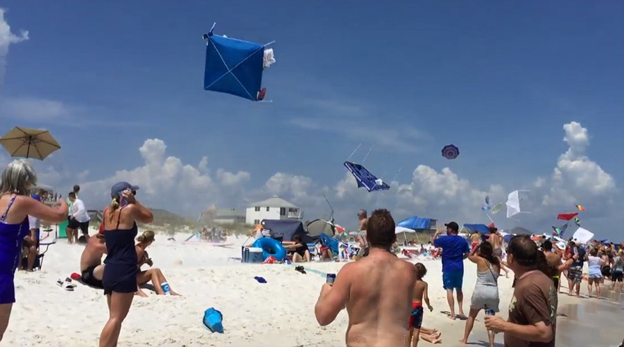 Gone with the wind: Blue Angel F/A-18 Hornet blows away beach umbrellas to crowd's delight (VIDEO)