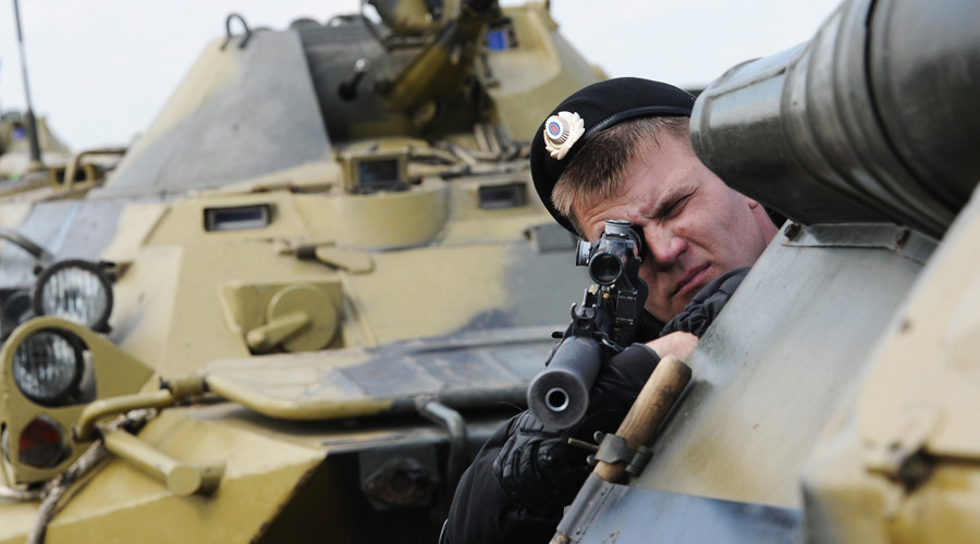 A servicemen during a drill conducted in Kadamovsky range in the Rostov Region.