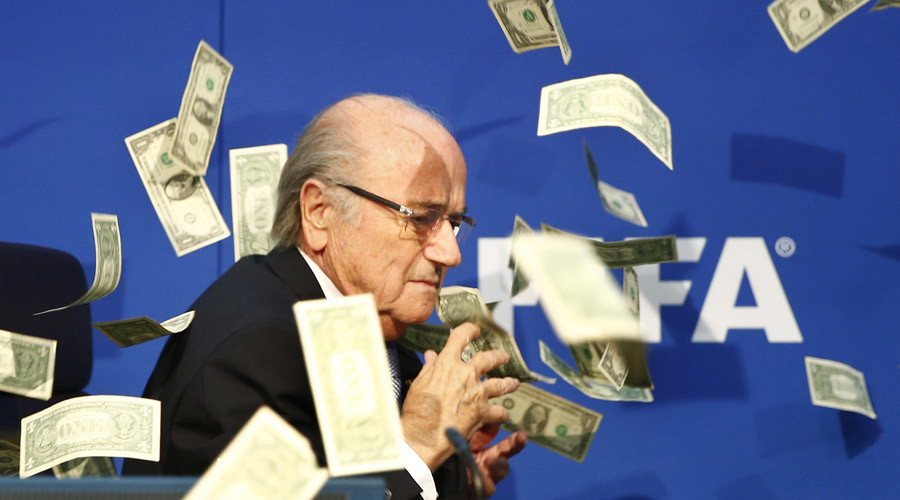 Prankster Lee Nelson throws dollars at Blatter, delays FIFA press conference