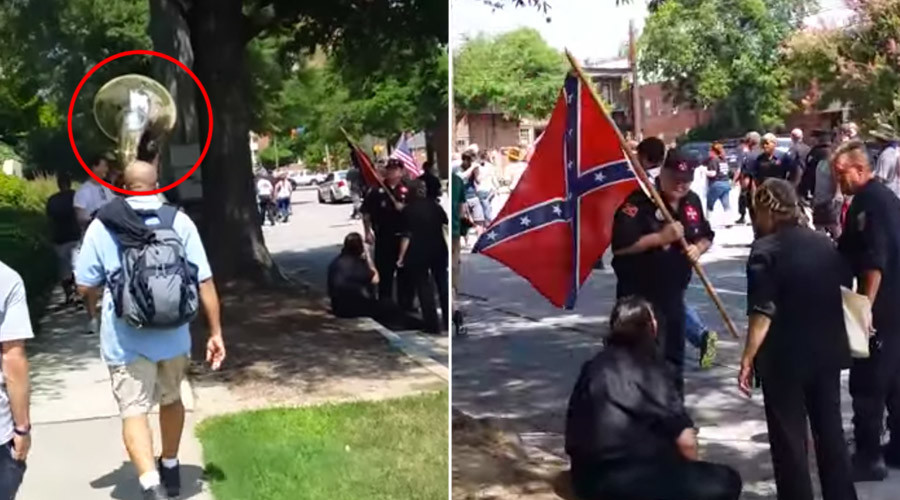 Anti-KKK tuba player booms out 'Ride of the Valkyries' to troll Confederate marchers (VIDEO)