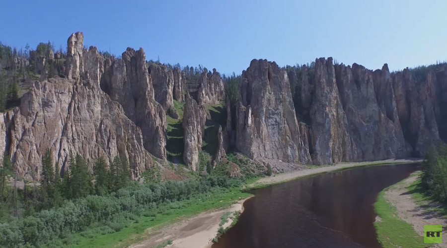 Yakutia rocks: Siberia's amazing Sinsky Pillars as seen from drone (VIDEO)