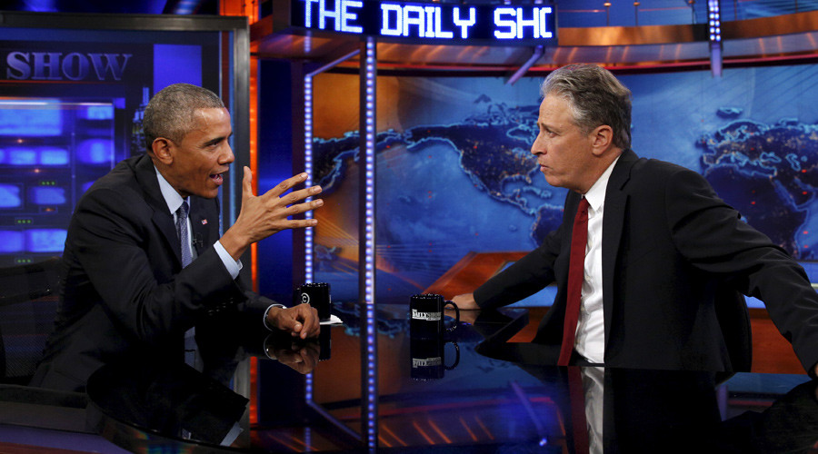Barack Obama on The Daily Show with Jon Stewart © Kevin Lamarque