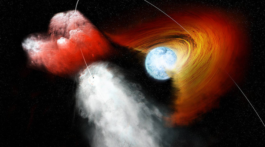 Pulsar rips hole in companion star's disk