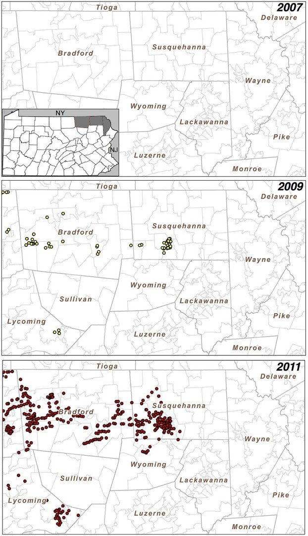 Active wells in Bradford and Susquehanna Counties increased markedly from 2007 to 2011