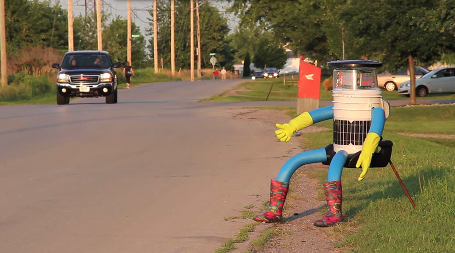 Robo-mission impossible? Talking robot on trans-US hitchhike stuck in Boston for 7 days!