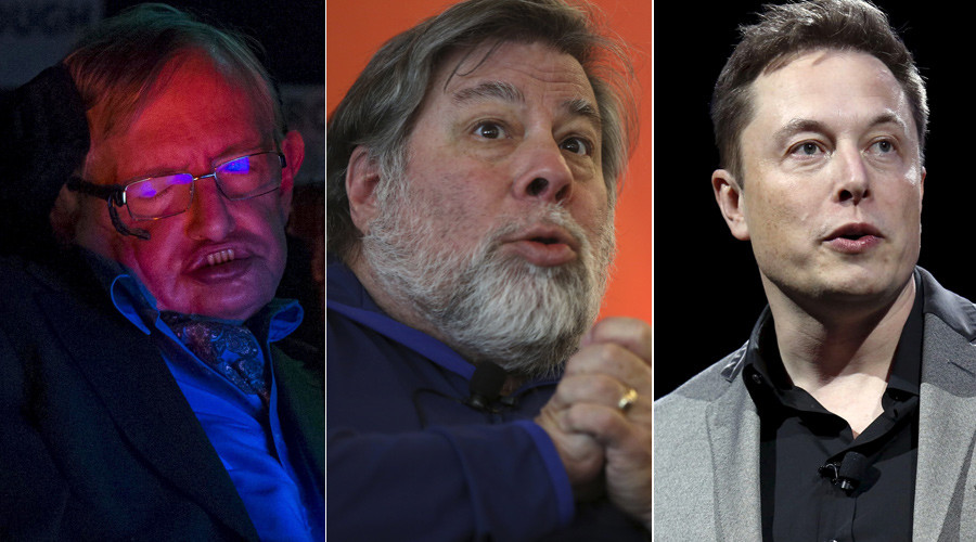 (L-R) Stephen Hawking (© Neil Hall), Steve Wozniak (© Robert Galbraith) and Elon Musk (© Patrick T. Fallon)