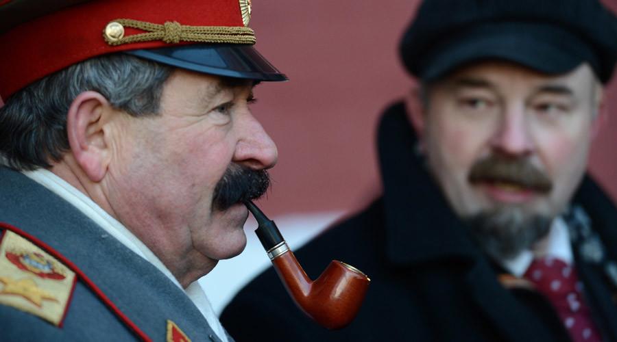 From left: Joseph Stalin and Vladimir Lenin doubles on Moscow's Red Square. © Maksim Blinov