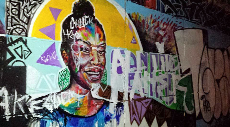 The Sandra Bland mural by Allan André and Kalkidan Assefa, in support of BlakCollectiv in Ottawa, Canada ©BLMOttawa