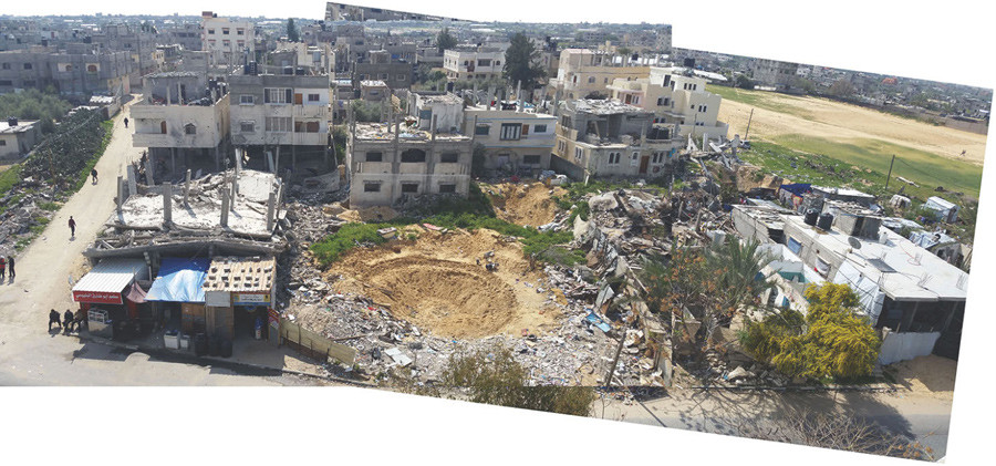 A collage of photographs shows the aftermath of the Israeli air strike on al-Tannur, in Rafah. © Al Mezan Center for Human Rights.