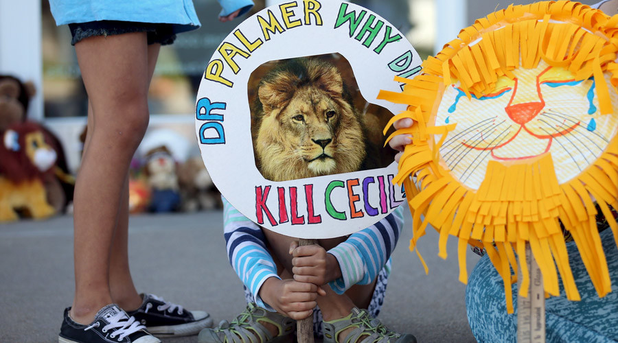 Piper Hoppe, 10, from Minnetonka, Minnesota, holds a sign at the doorway of River Bluff Dental clinic in protest against the killing of a famous lion in Zimbabwe, in Bloomington, Minnesota July 29, 2015. © Eric Miller