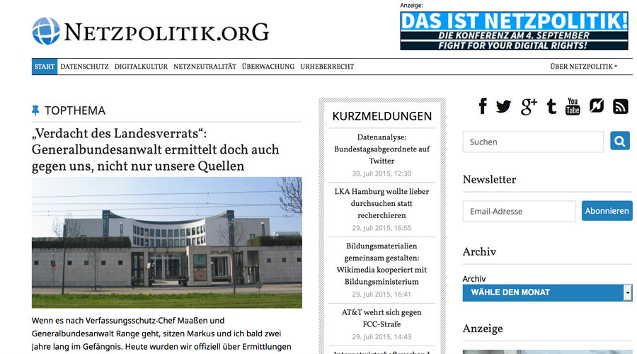Online outrage in Germany after news bloggers accused of treason for snooping leak, probe halted