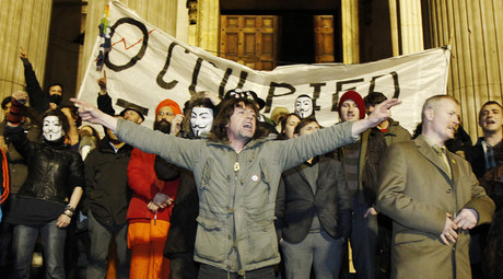 FILE PHOTO - Demonstrators from Occupy London protest, January 18, 2012.© Luke MacGregor