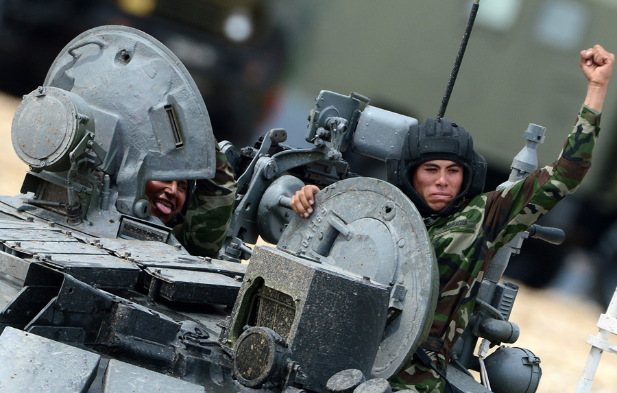 The tank biathlon team of the Nicaraguan Army at the International Army Games 2015, Alabino base outside Moscow. © Evgeny Biyatov
