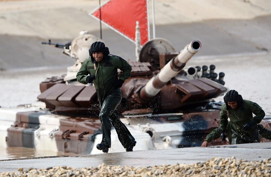 The tank biathlon team of the Venezuelan Army at the International Army Games 2015, Alabino base outside Moscow. © Maksim Blinov