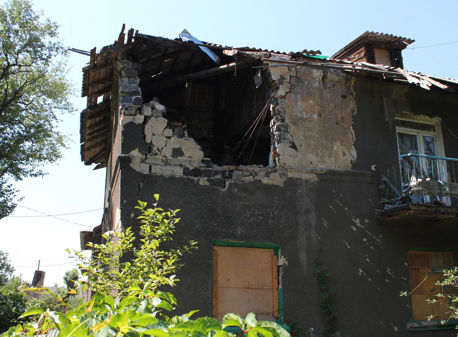 A house destroyed in shelling by Ukrainian army. © Irina Gerashchenko
