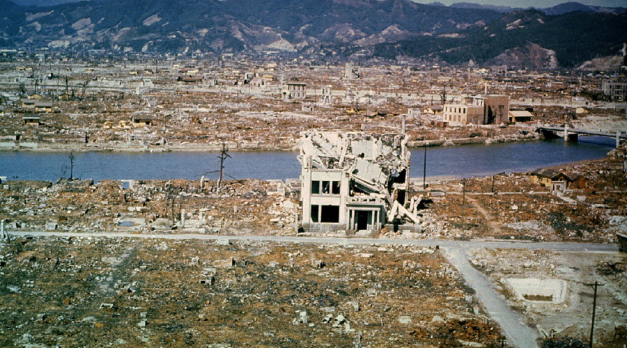This general view of the city of Hiroshima showing damage wrought by the atomic bomb was taken March 1946 © STR