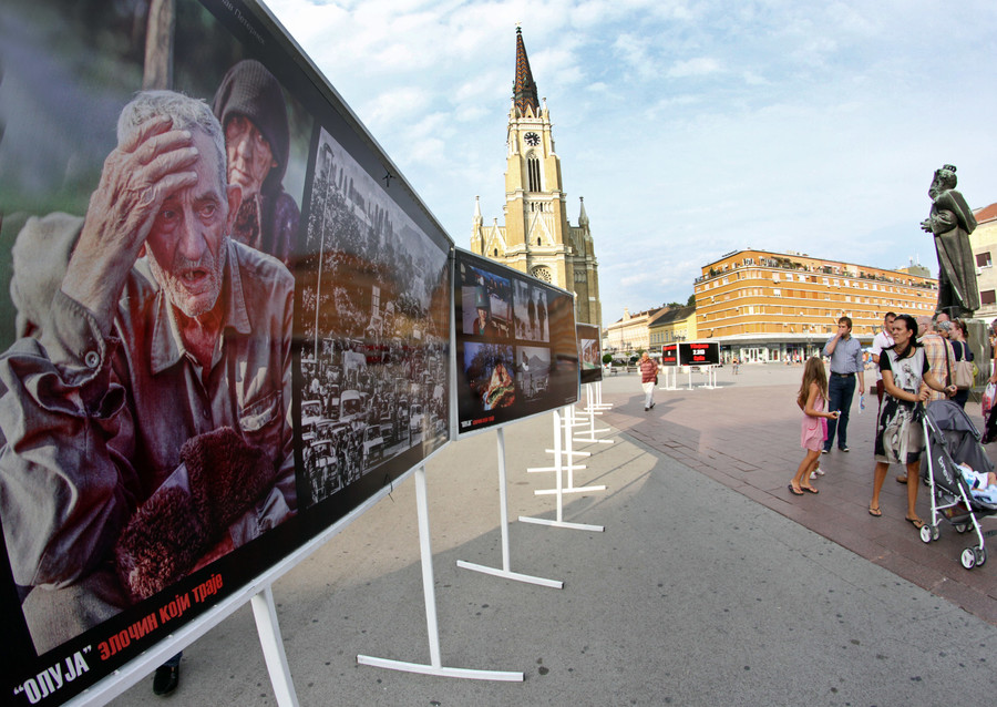 Exhibit of photographs from 'Operation Storm' in Novi Sad, Serbia, August 4, 2015