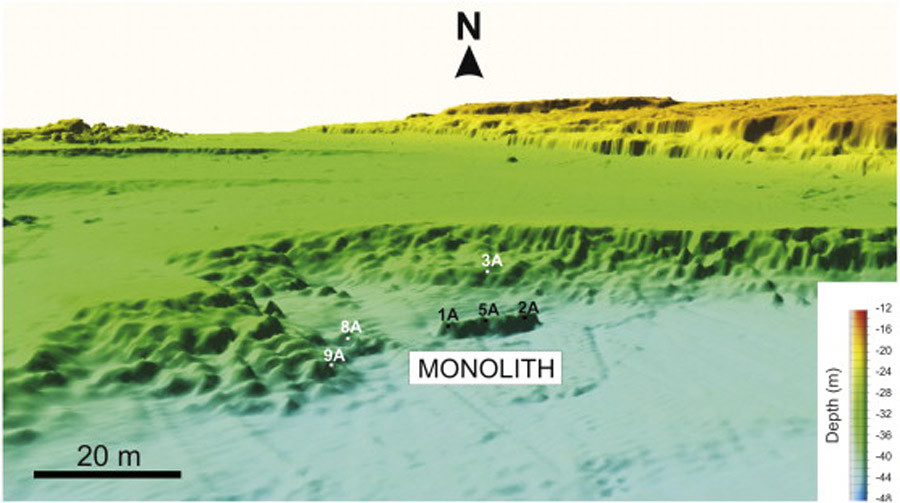 3-D perspective view of the high-resolution bathymetric map where the monolith has been discovered. No vertical exaggeration. Numbers indicate the locations of the corresponding rock samples. © sciencedirect.com