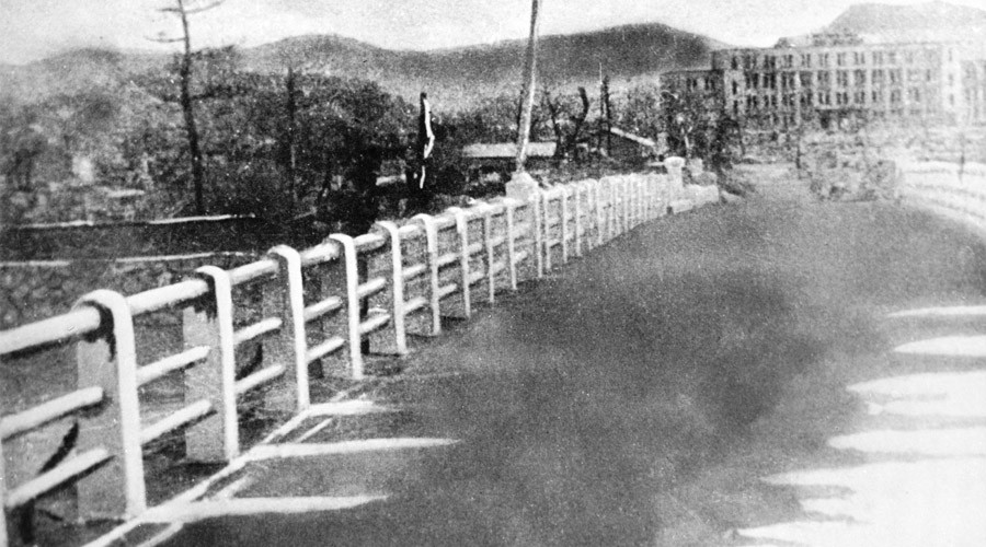 A bridge in Hiroshima following the atomic bombing. A photo taken in August 1945. © RIA Novosti