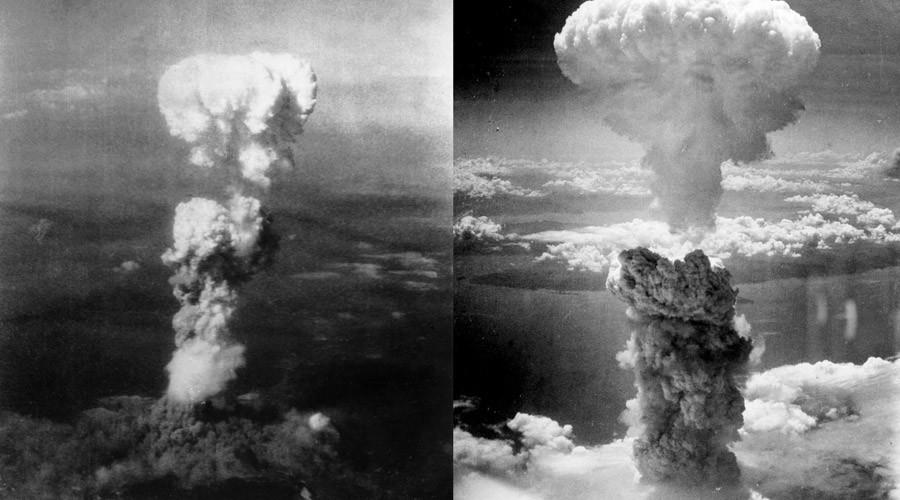 Atomic bomb mushroom clouds over Hiroshima (left) and Nagasaki (right). © Charles Levy
