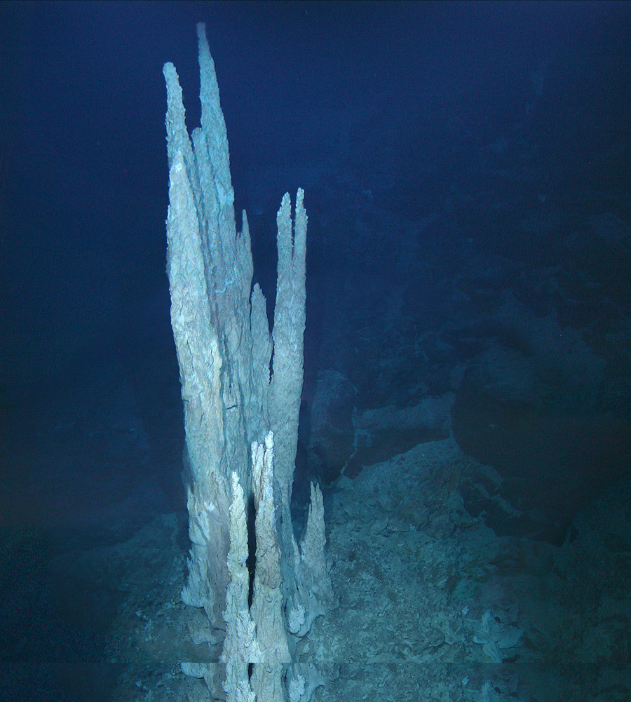"""This image from the floor of the Atlantic Ocean shows a collection of limestone towers known as the """"Lost City."""" © D. Kelley and M. Elend / University of Washington"""