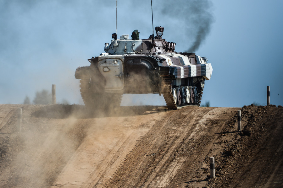 A Venezuelan Army's combat infantry vehicle crew takes part in The Suvorov Assault competition at the International Army Games 2015 at Alabino base outside Moscow. © Ramil Sitdikov