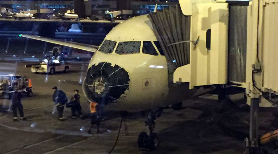Intense hail strikes Delta jet cockpit, forces pilot to make 'blind' emergency landing (PHOTOS)