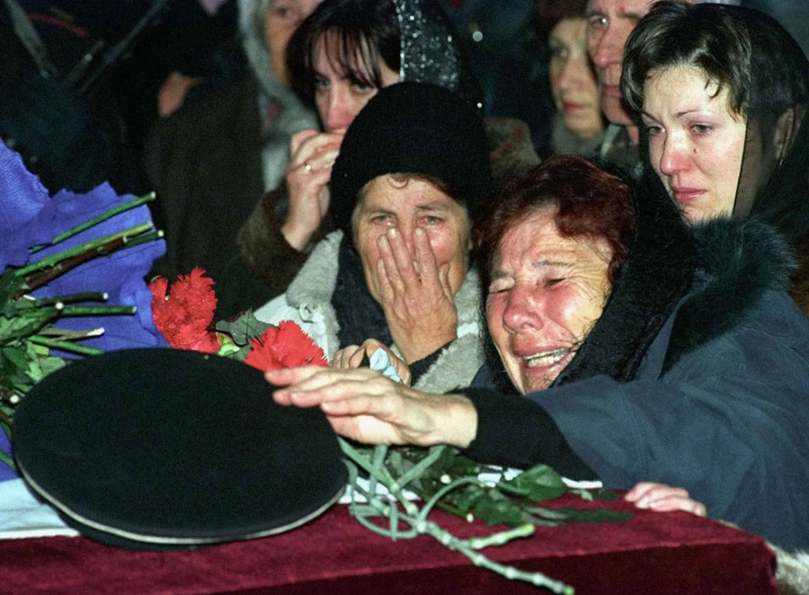The mother of a Kursk Naval officer Captain Andrei Silogav who died on