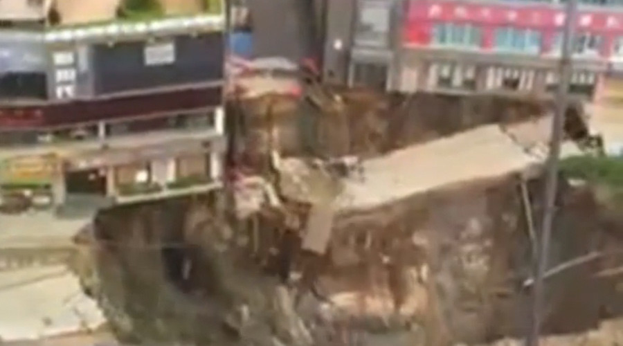 2nd giant Chinese sinkhole in 2 days swallows entire building (VIDEO)