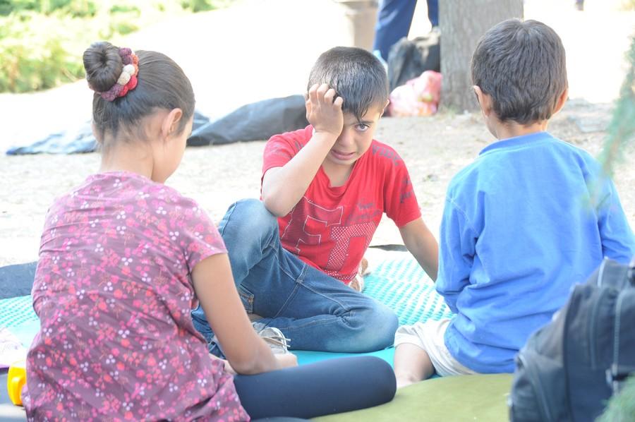 Refugee children in the camp near Preševo