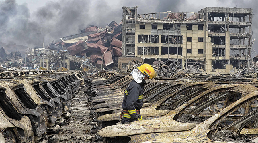 Tianjin evacuates all residents within 3km of blast site following new explosions, fire